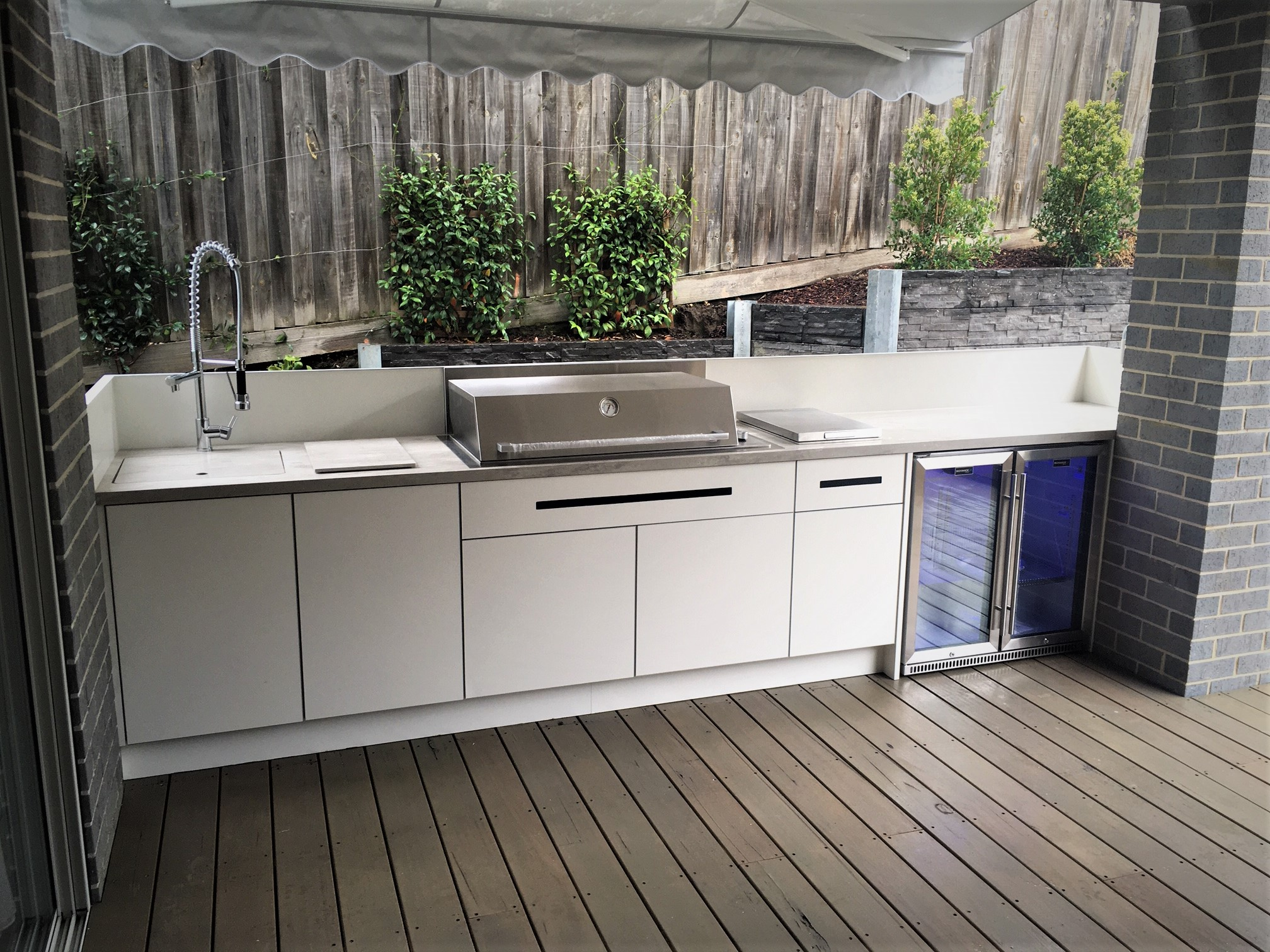 Beefeater Proline Hood Matte White Corian Neutral Concrete Alfresco Outdoor Kitchen 1