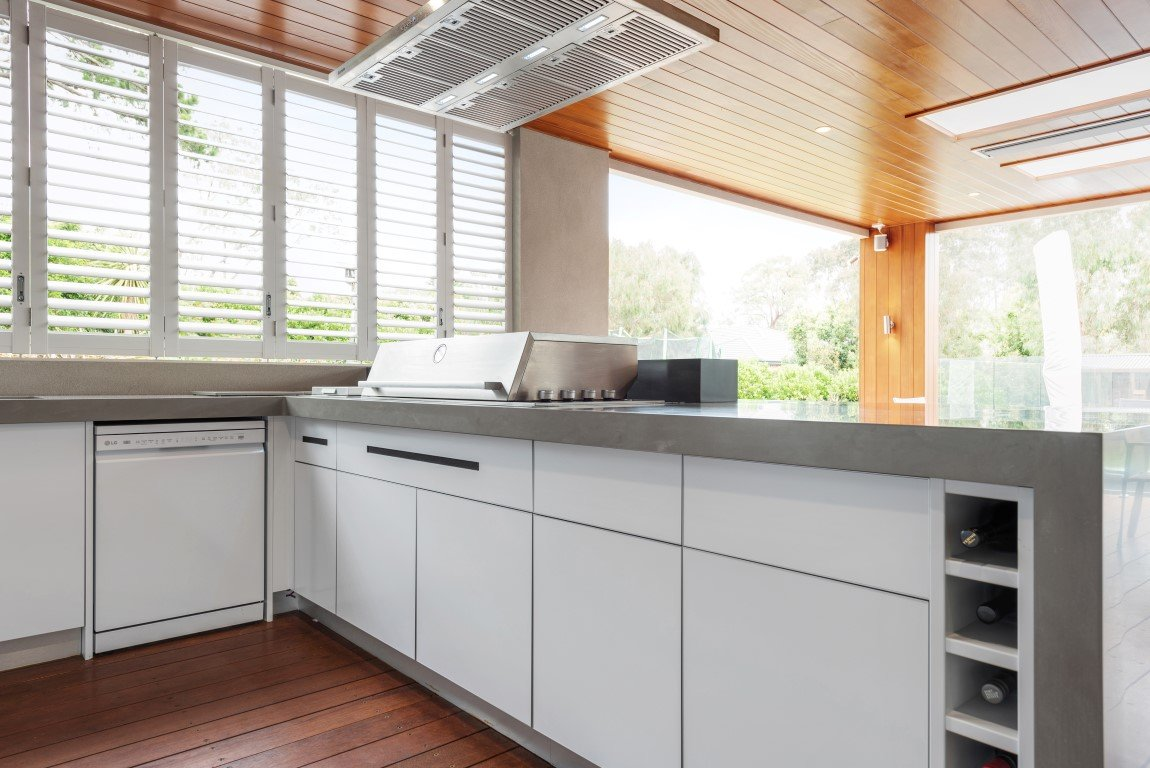 Beefeater Proline Corian Ash Concrete Matt White Alfresco Kitchen Mt Eliza