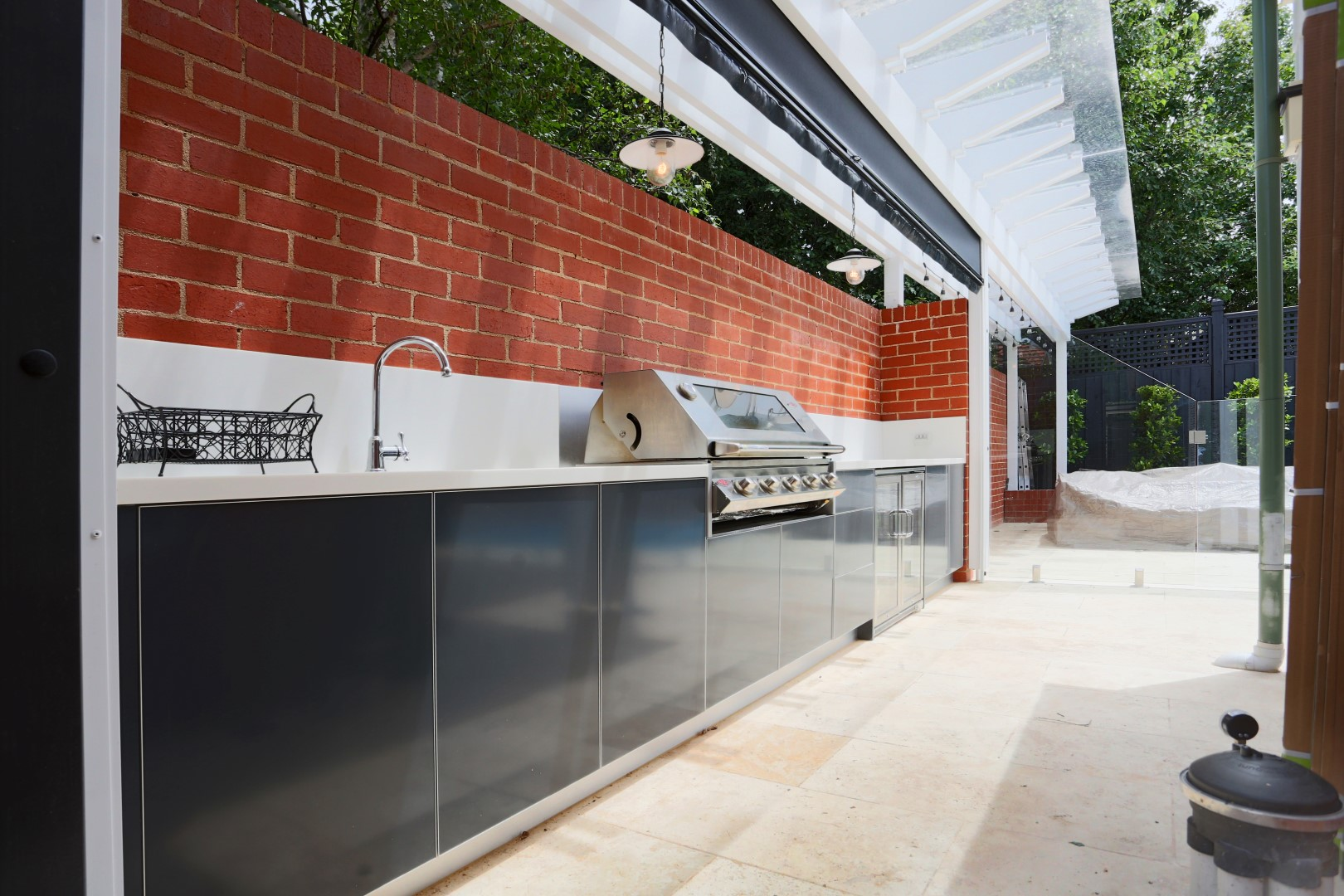 Beefeater Signature 3000 5 Burner Matte Steel Grey Corian Cameo White Outdoor Kitchen