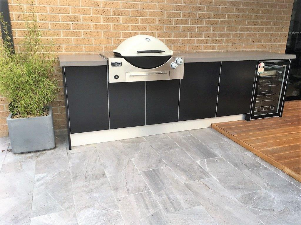 Weber Q Built In Outdoor Kitchen Concrete Bench