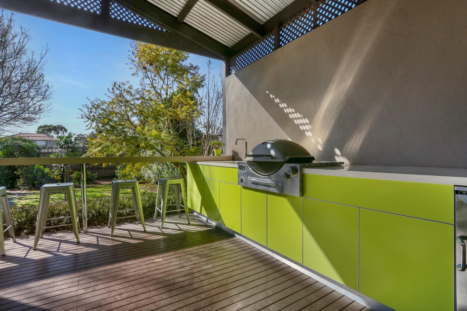 Weber Q3600 Dulux Rainforest Glow Corian Concrete and Clam Shell Alfresco Kitchen