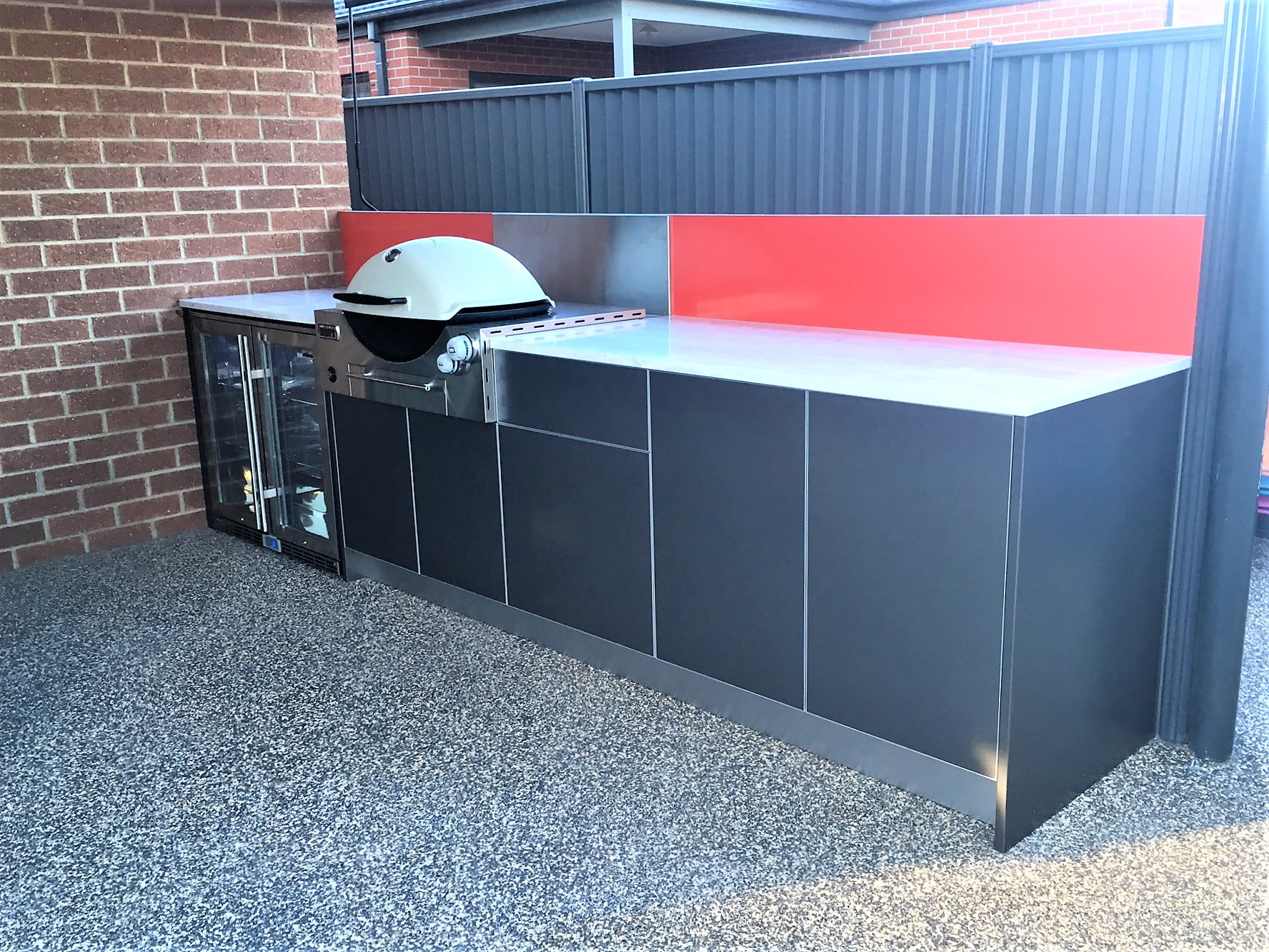Weber Q3600 BBQ Metallic Charcoal with Corian Raincloud Alfresco kitchen Lara 430-2