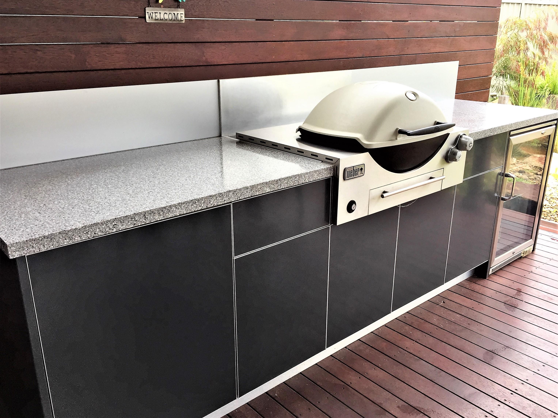 Weber Q3600 BBQ Steel Grey Corian Platinum Alfresco Kitchen