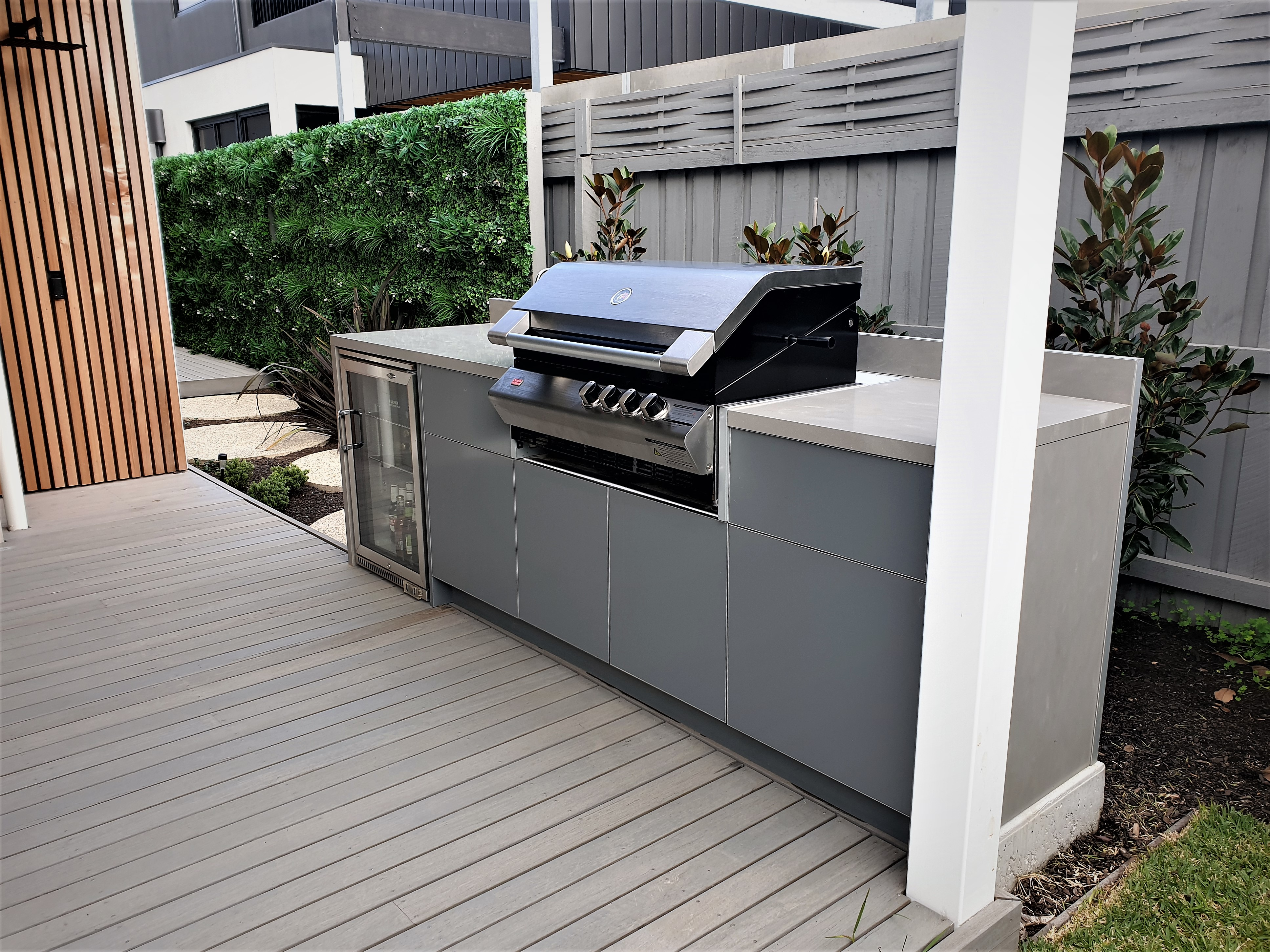 Ziegler & Brown Turbo Classic with Matte Ash Grey and Corian Ash Concrete Outdoor Kitchen 308-4
